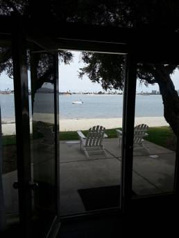 View from your Fido-friendly room to the sands of Paradise Point on Mission Bay.